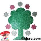 Glitter Tree with Flowers Foam Shapes