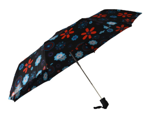 Compact Black Flowers Umbrella Side