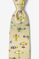 Vintage Warplanes Necktie Tan