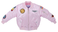 Girls Pink MA-1 Flight Jacket