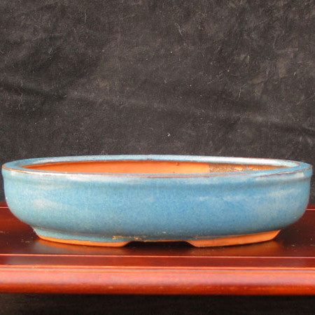Bonsai Pot. Low Blue Oval.