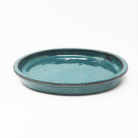 "6 1/2"" Teal Oval Ceramic Humidity Tray (HTOG-6)"