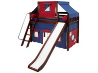 Mid Loft Panel Bed w/ Angle Ladder, Slide, Top Tent & Curtains