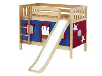 Low Bunk Bed w/ Straight Ladder, Slide & Curtain