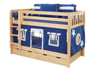 Low Bunk w/ Straight Ladder & Curtain