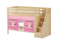 Medium High Bunk Bed with Staircase on End & Curtain (Natural)