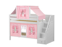 Low Bunk Bed with Staircase on End, Top Tent & Curtain (White)