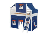 Mid Loft Bed w/ Angle Ladder, Top Tent & Curtain (White)