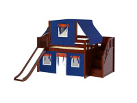 Low Loft Bed w/ Staircase, Slide, Top Tent & Curtain (Chestnut)