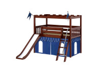 Knights Castle w/ Slide, Curtain, & Angle Ladder (Chestnut)