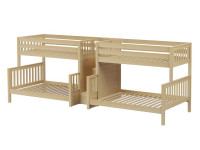 Quad Twin/Full Medium Bunk Bed w/ Stairs