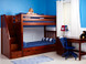 """High Bunk with Stairs Left in Chestnut. Shown with Optional pair of underbed drawers. Also available with angled ladder or straight ladder.  72"""" height good for 8' ceilings. Get the Top and Bottom Low Profile mattresses at The Bedroom Source. They will be delivered same time as the bed with no extra delivery charge. Special financing available.*"""