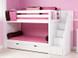 """Low Bunk with Stairs right in White. Shown with optional trundle. Also available with angled ladder or straight ladder.  61"""" height good for low ceilings. Get the Top and Bottom Low Profile mattresses at The Bedroom Source. They will be delivered same time as the bed with no extra delivery charge. Special financing available.*"""