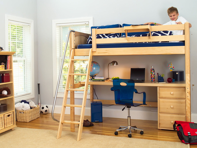 Ordinaire Twin Size High Loft In Natural With Angled Ladder And 3 Drawer Unit Under  The Desk