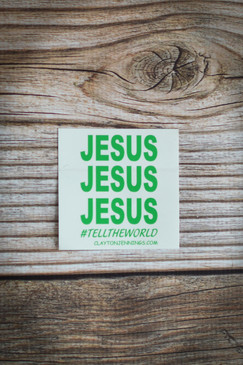 JESUS CAR DECAL GREEN