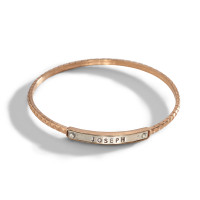 Ina Personalized Stacking Bangle Bracelet in mixed metal.