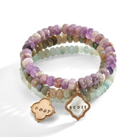Aster Purple Amethyst Personalized Bracelet with two charms