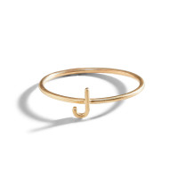 Classic 14K Gold Initial Block Letter Ring