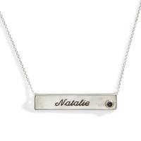 Vela Birthstone Nameplate Necklace