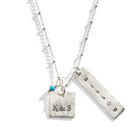 Sherona Personalized Rectangle Square Charm Necklace