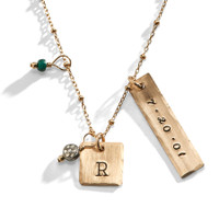 Air & Fire Hand Stamped Necklace in Yellow Gold-Filled.