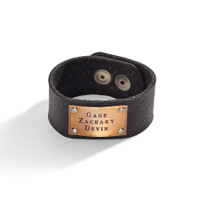 Knox Personalized Wide Leather Cuff with Personalized Bronze Plaque.