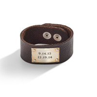 Knox Personalized Wide Leather Cuff with Personalized Sterling Silver Cuff