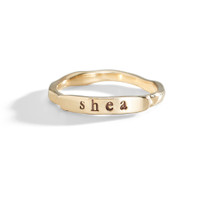 14K Yellow Gold Hand Stamped Ring.