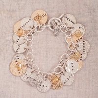 Fourth Of July Hand Stamped Charm Bracelet