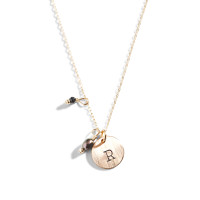 She Wears Black Gold Initial Necklace