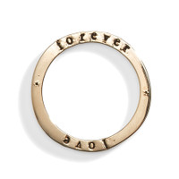 14K Gold Celebrian Large Round Personalized Stacking Ring in Yellow Gold.
