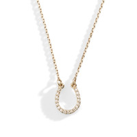 Delicate 14K Gold and Diamond Horseshoe Necklace