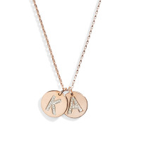 14K Gold & Diamond Pave Letter in Rose Gold.