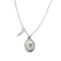 Evangeline Personalized Oval Charm Necklace