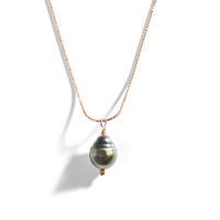 Rose Gold and Tahitian Pearl Necklace