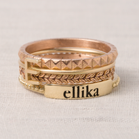 Venus Personalized Stacking Ring in 14K Yellow Gold with Zeus 14K Gold Stacking Rings.