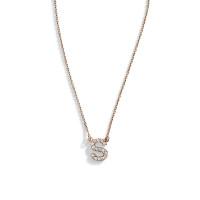 14K Gold Delicate Diamond Block Letter Necklace