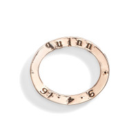 14K Gold Celebrian Small Oval Personalized Stacking Ring Charm in 14K Rose Gold.