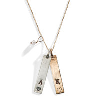 Janan Personalized Heart Rectangle Charm Necklace