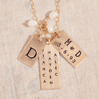 Super Model Name Tag Necklace in Yellow Gold-Filled.