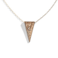Jacques Triangle Initial Necklace in Golden Bronze.