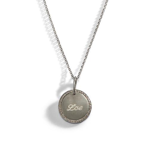 Diamond Pirouette Engraved Name Necklace