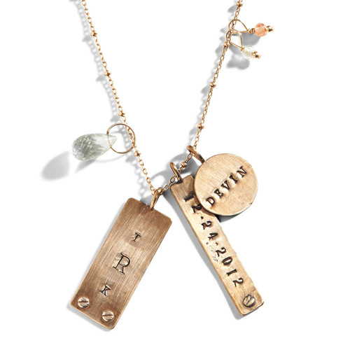 Chelsea Industrial Personalized Tag Necklace in Golden Bronze.