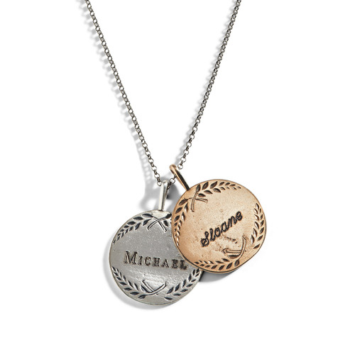 Love Token Engraved Charm Necklace