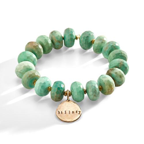 Glastonbury Green Stone and Brass Bracelet with Personalized Bronze Charm