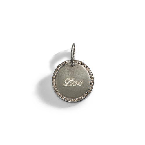 Diamond Pirouette Engraved Personalized Charm with Diamonds around the Edge.