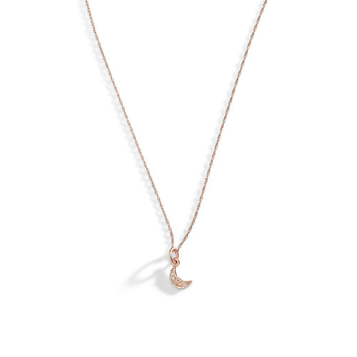 14K Rose Gold Tiny Crescent Diamond Moon Necklace