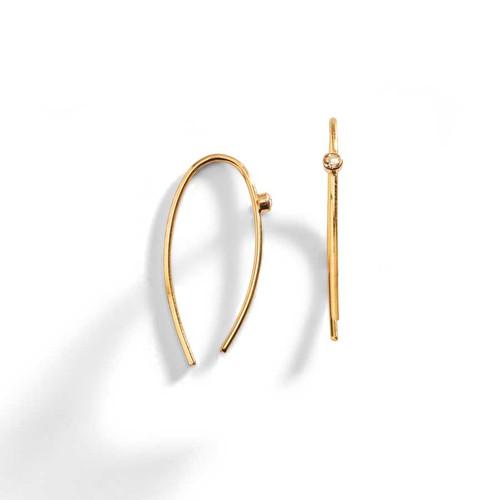 Lorren 14K Gold Sliced Diamond on a Wire Earring