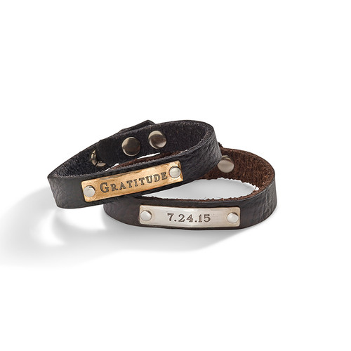 Humboldt Personalized Skinny Leather Cuff
