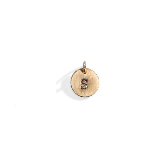 Classic Personalized Initial Disc in Golden Bronze.